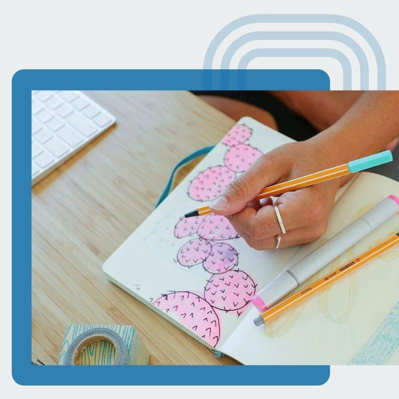 Hand drawing pink Cacti