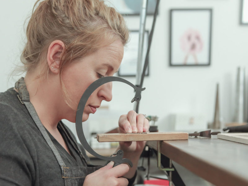 Ayana Jewellery Lauren working in Studio